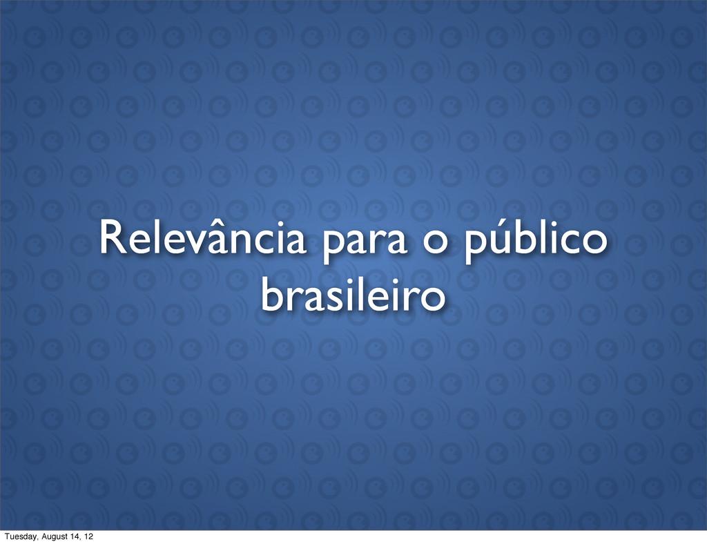 Relevância para o público brasileiro Tuesday, A...