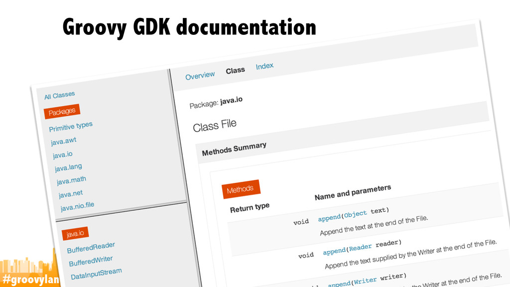 #groovylang @glaforge Groovy GDK documentation ...