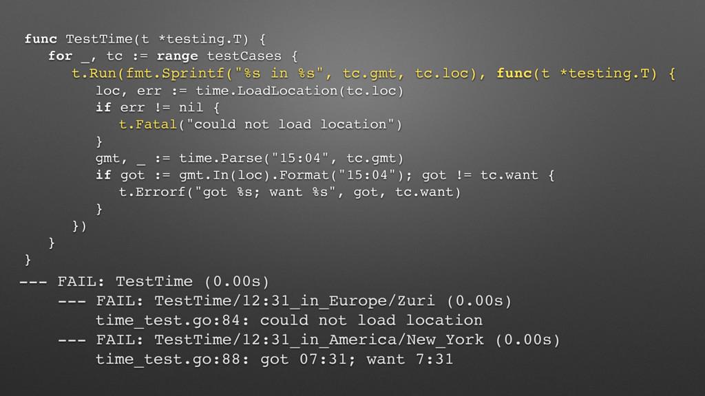 func TestTime(t *testing.T) { for _, tc := rang...