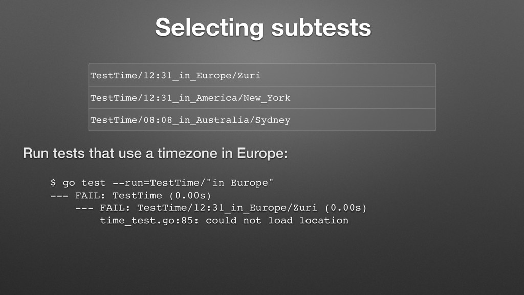 """$ go test --run=TestTime/""""in Europe"""" --- FAIL: ..."""