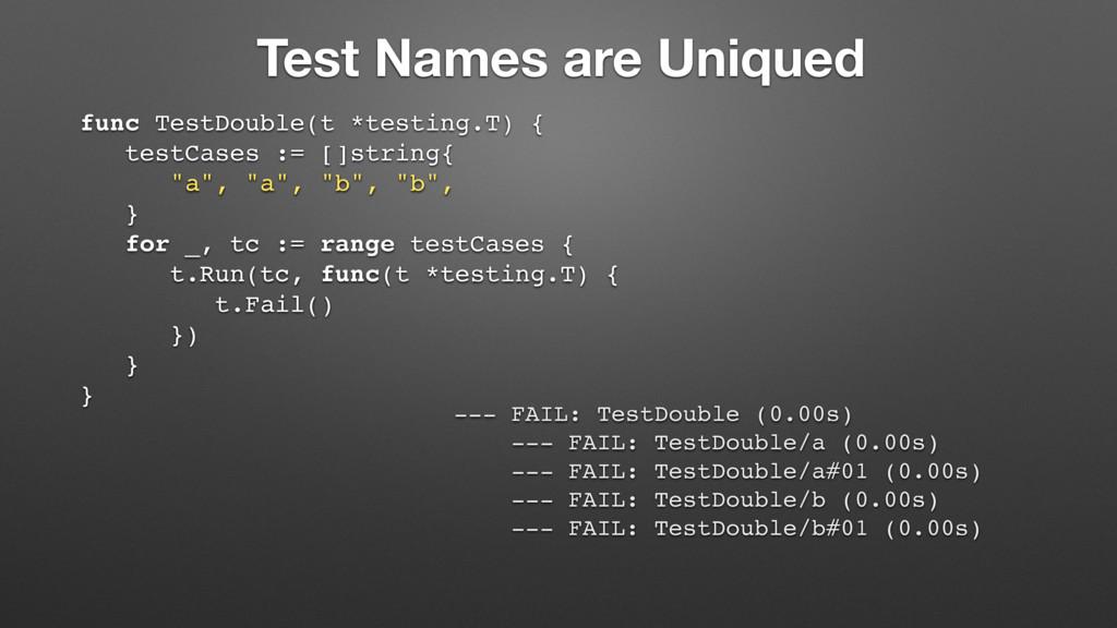 Test Names are Uniqued func TestDouble(t *testi...