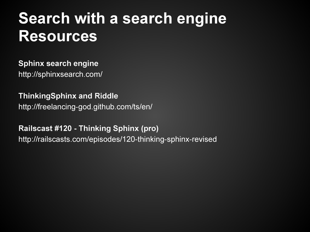 Search with a search engine Resources Sphinx se...