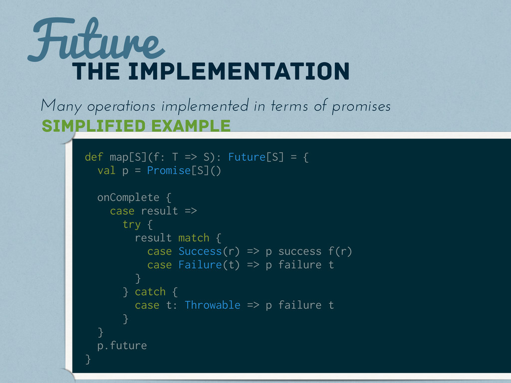 Future the implementation def map[S](f: T => S)...
