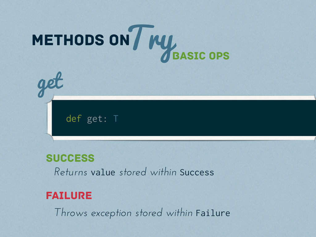 Try methods on Basic Ops def get: T get Success...