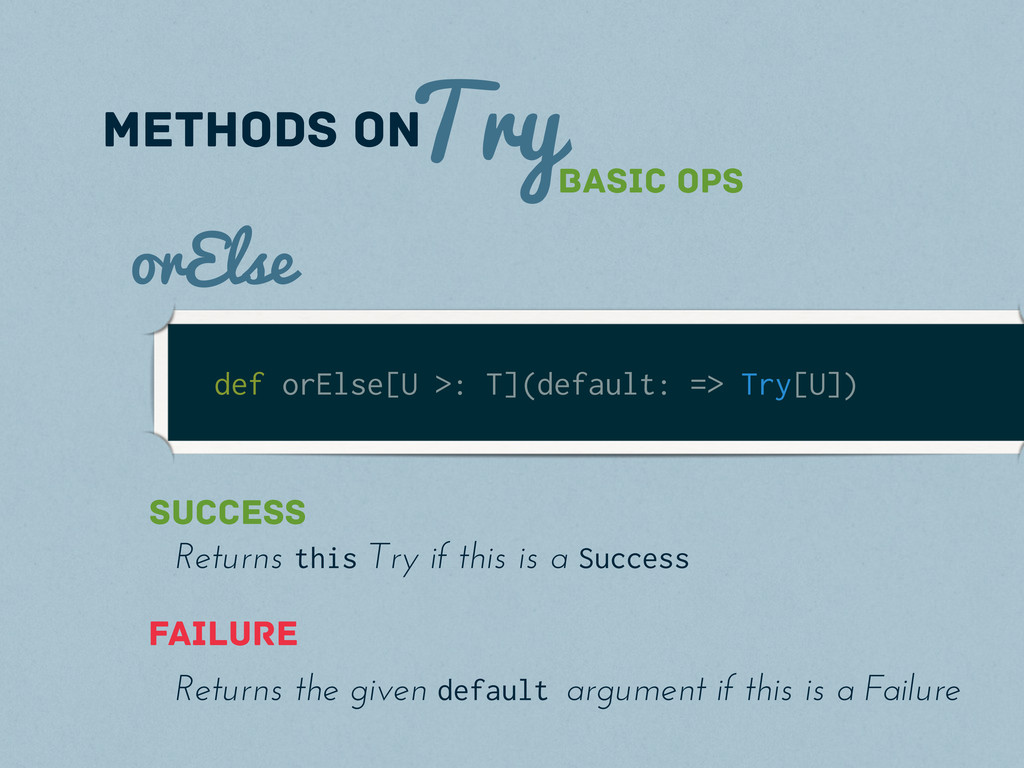 Try methods on def orElse[U >: T](default: => T...
