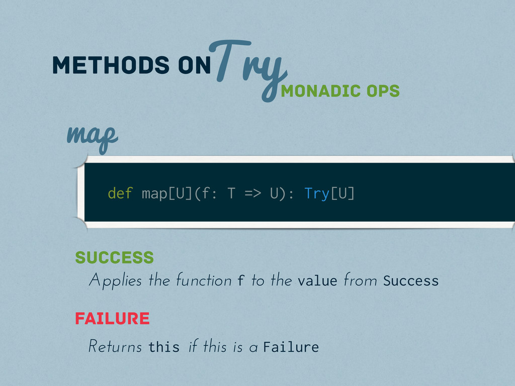 Try methods on def map[U](f: T => U): Try[U] ma...