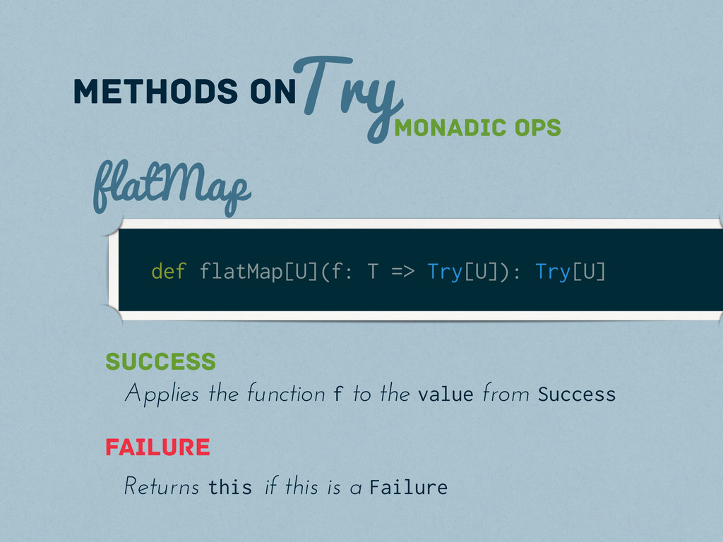 Try methods on def flatMap[U](f: T => Try[U]): ...