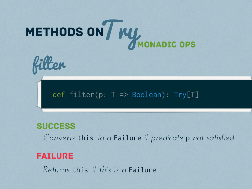 Try methods on def filter(p: T => Boolean): Try...