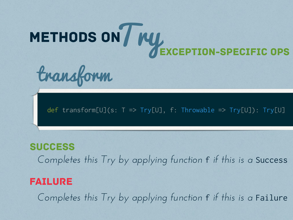 Try methods on def transform[U](s: T => Try[U],...