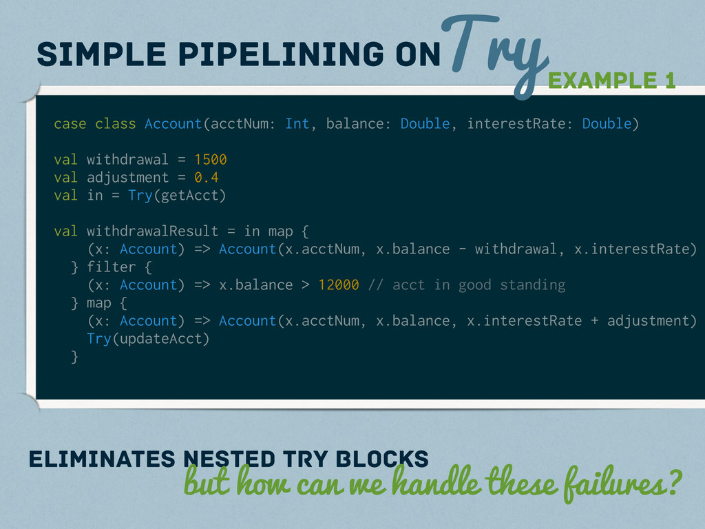 Try Simple pipelining on Example 1 case class A...