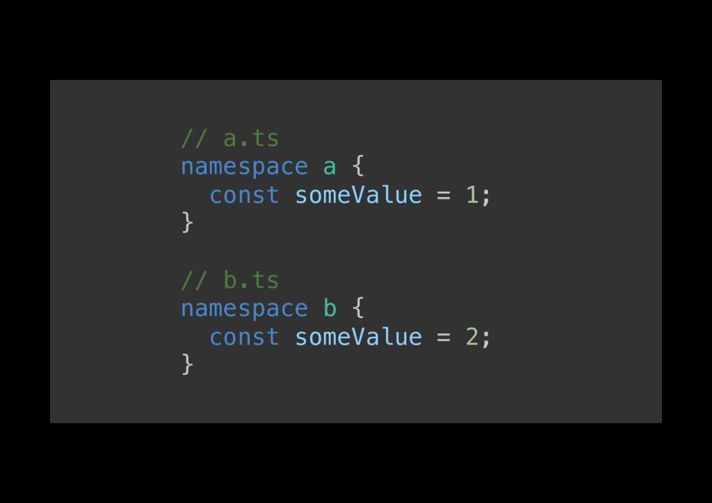 // a.ts! namespace a {! const someValue = 1;! }...