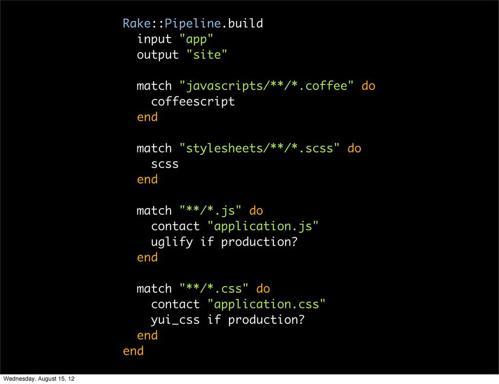 "Rake::Pipeline.build input ""app"" output ""site"" ..."