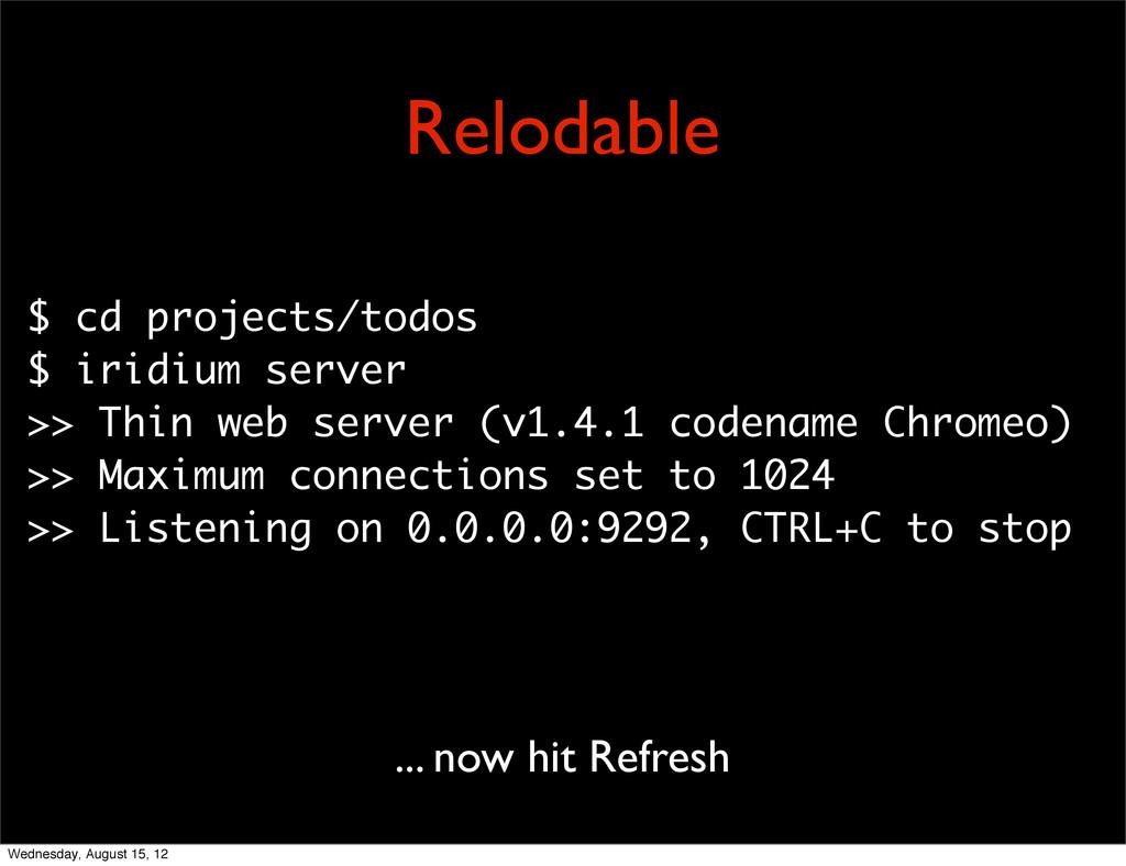 $ cd projects/todos $ iridium server >> Thin we...