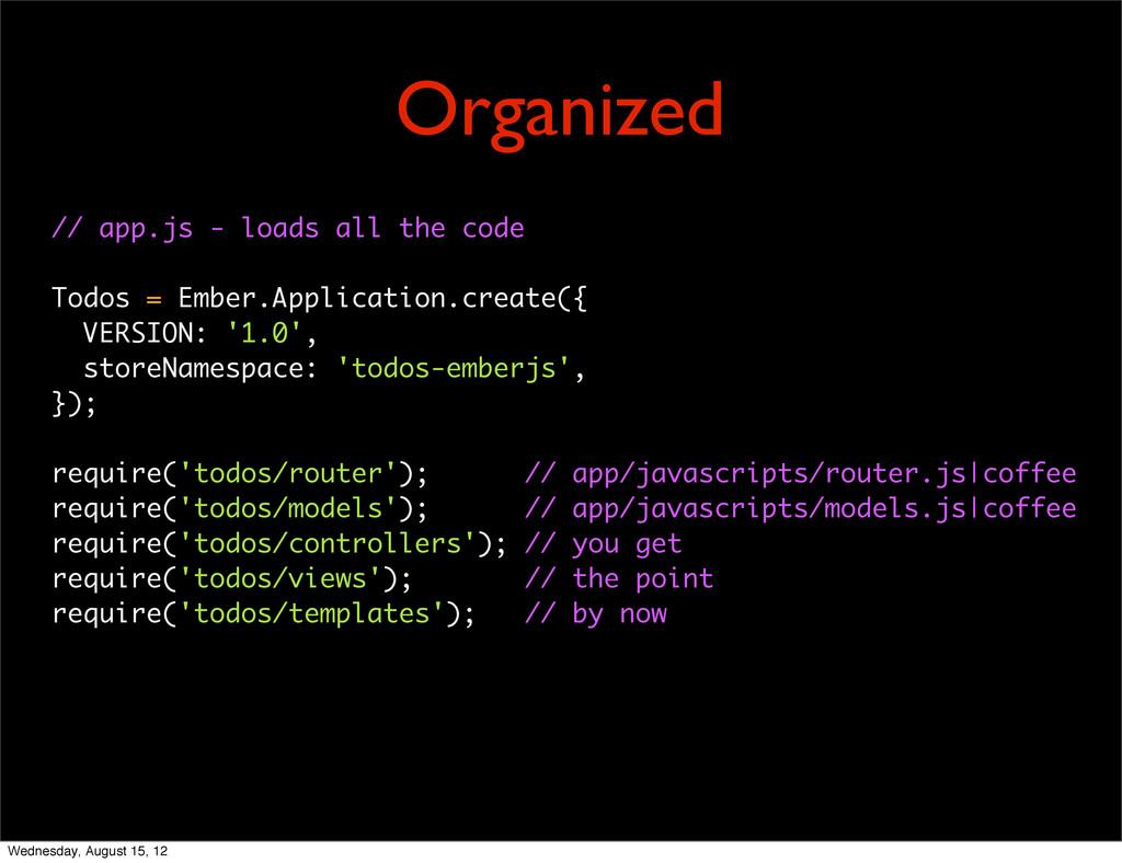 // app.js - loads all the code Todos = Ember.Ap...