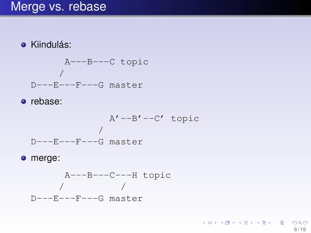 Merge vs. rebase Kiindulás: A---B---C topic / D...