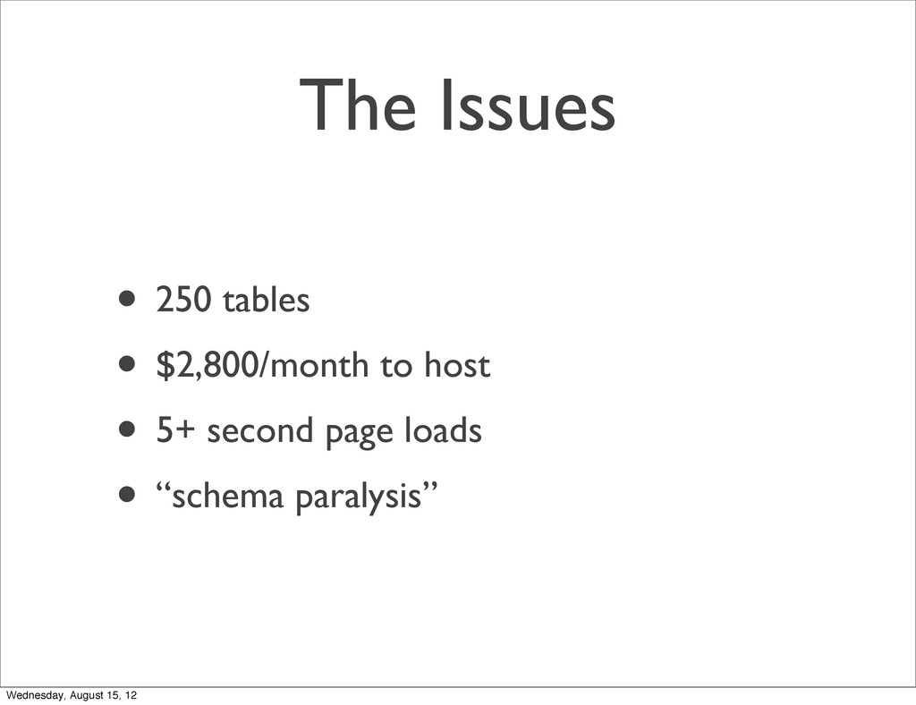 The Issues • 250 tables • $2,800/month to host ...
