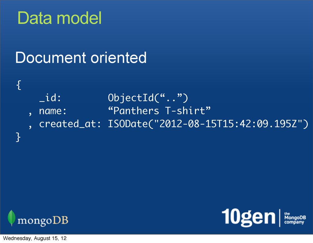 "Data model Document oriented { _id: ObjectId(""...."