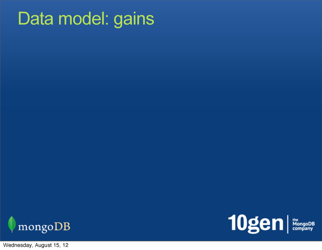 Data model: gains Wednesday, August 15, 12