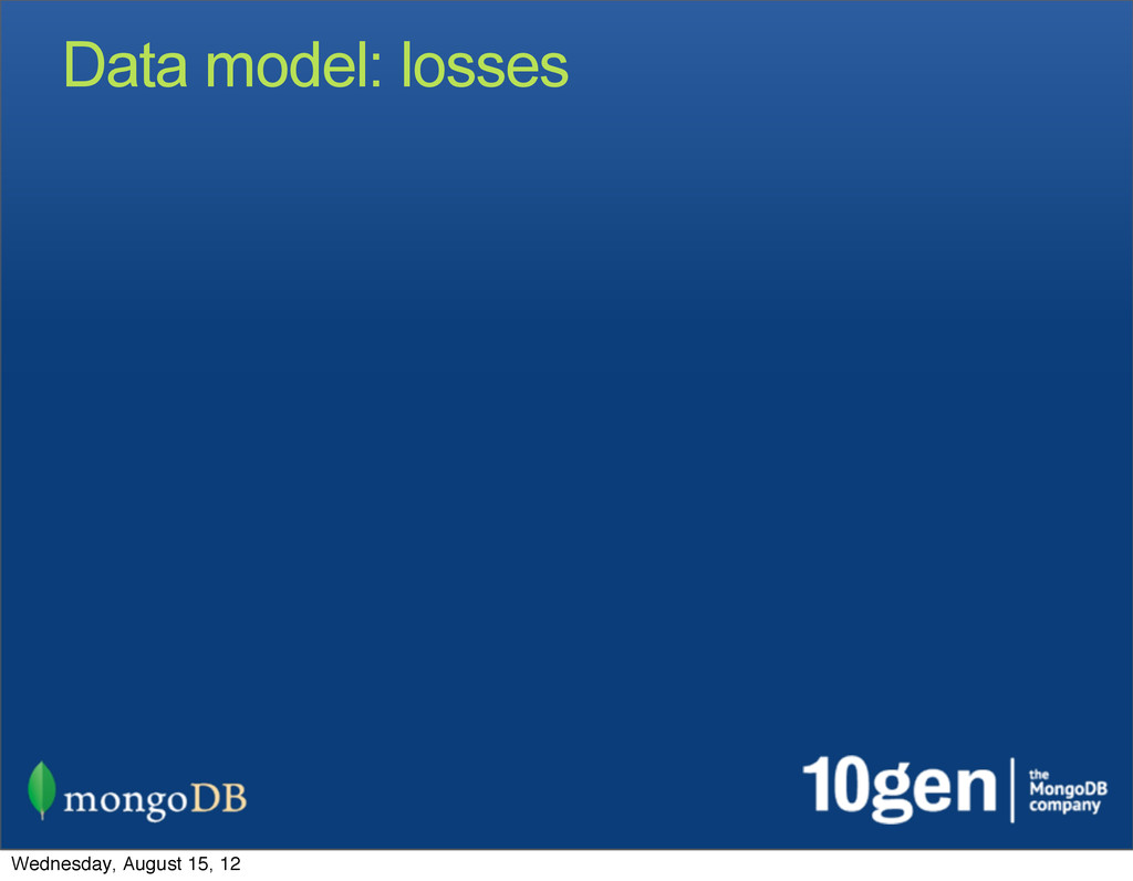 Data model: losses Wednesday, August 15, 12
