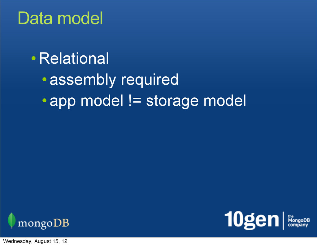 Data model • Relational • assembly required • a...