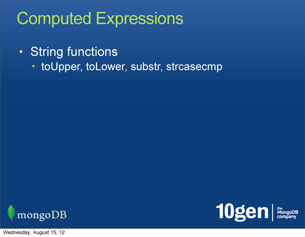 Computed Expressions • String functions • toUpp...