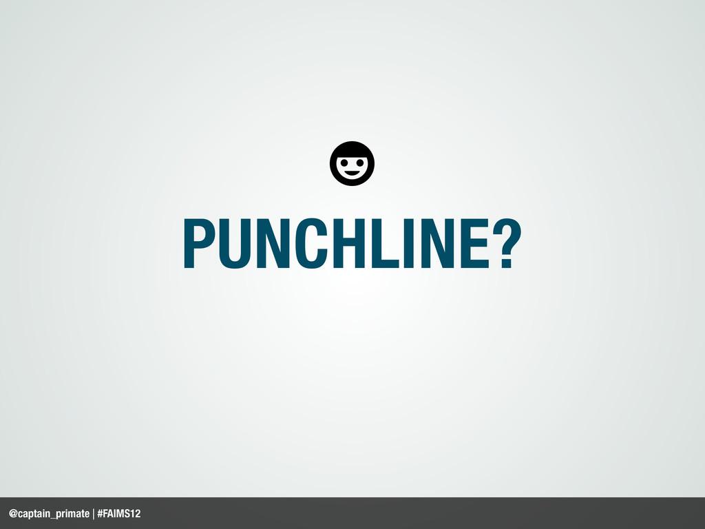 PUNCHLINE? @captain_primate | #FAIMS12