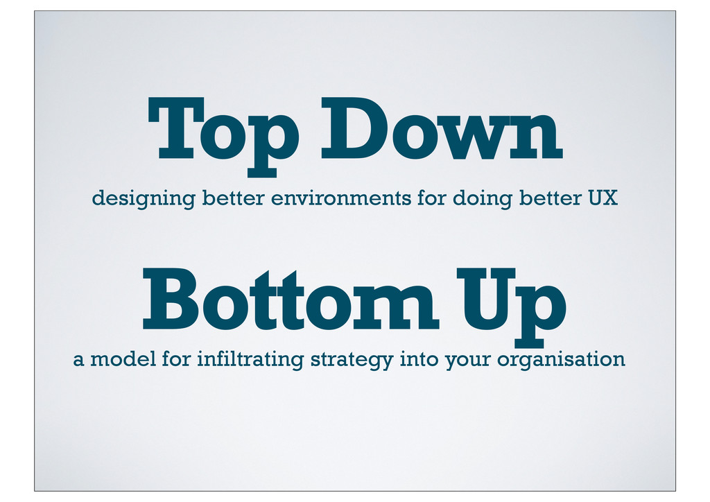 Top Down designing better environments for doin...
