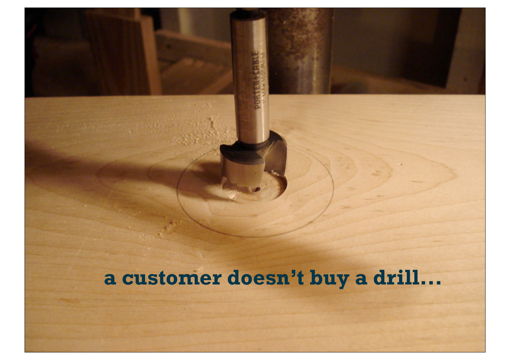 a customer doesn't buy a drill...