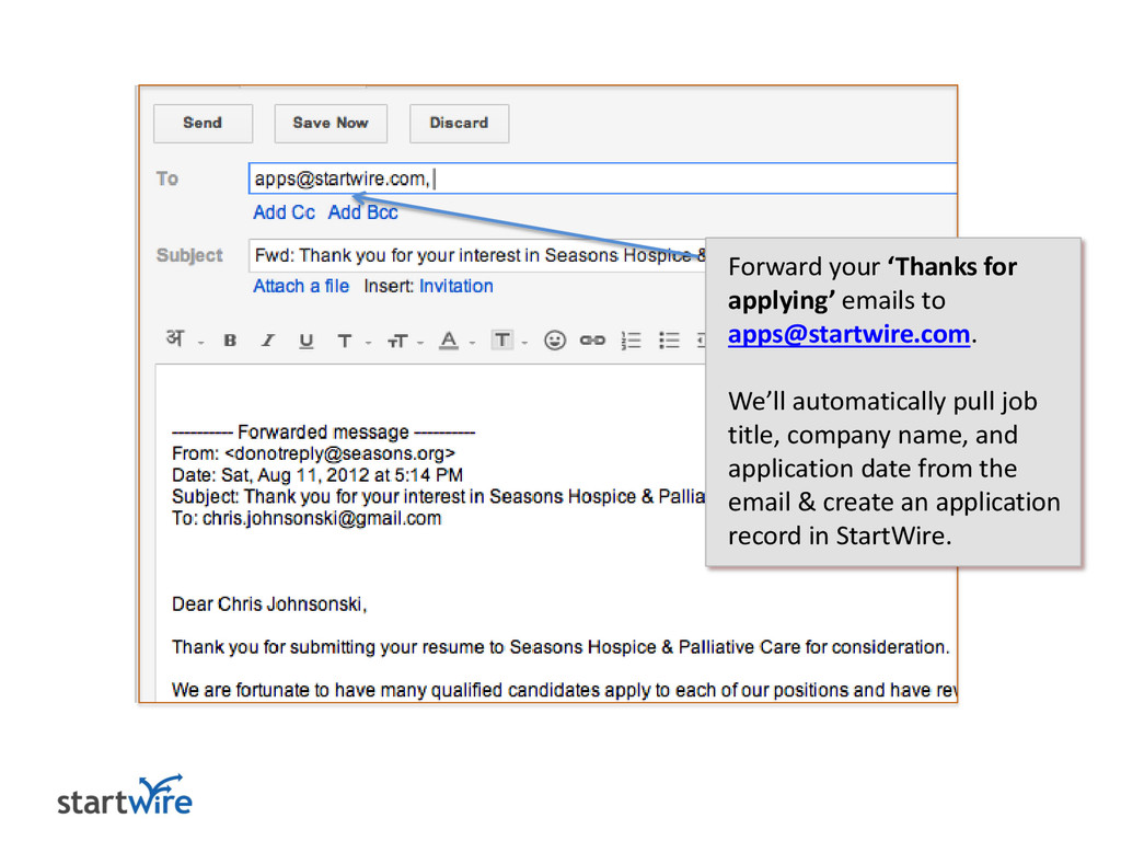 Forward your 'Thanks for applying' emails to ap...