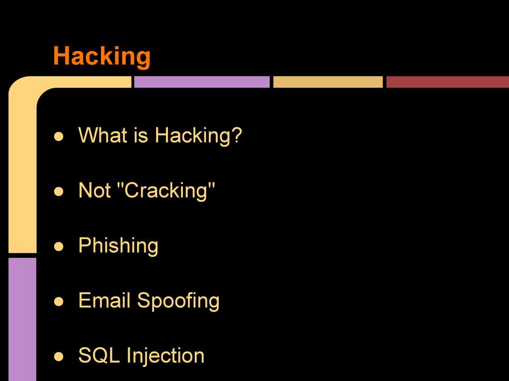 """● What is Hacking? ● Not """"Cracking"""" ● Phishing ..."""