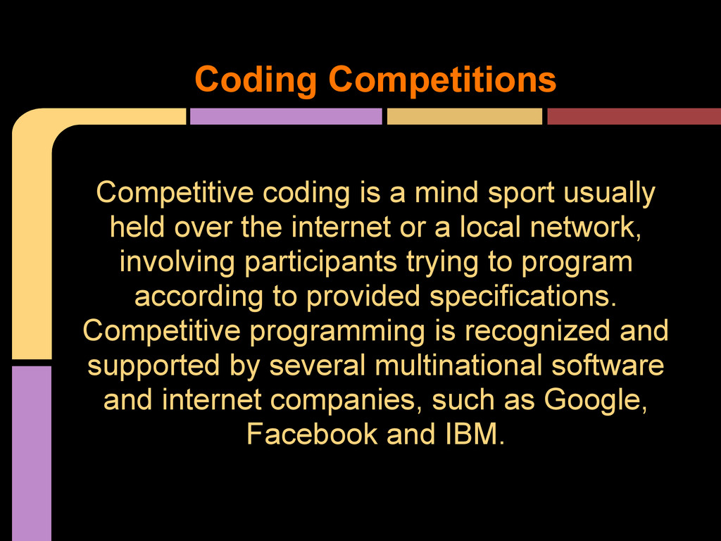 Competitive coding is a mind sport usually held...