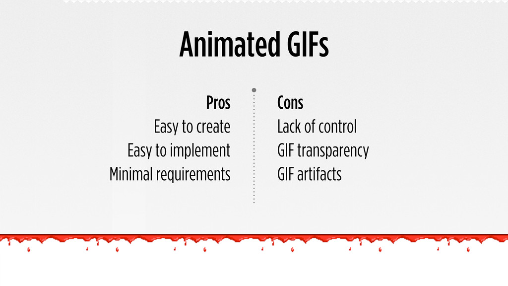Animated GIFs Cons Lack of control GIF transpar...