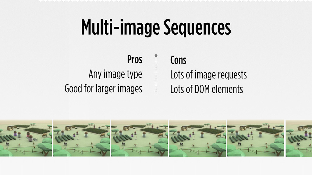 Multi-image Sequences Cons Lots of image reques...