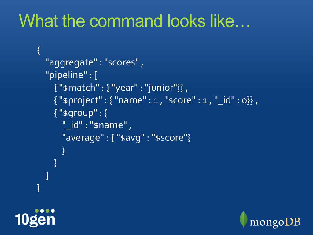 What the command looks like… {	