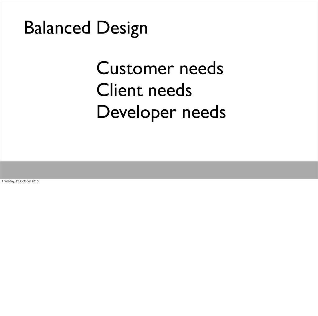 Balanced Design Customer needs Client needs Dev...
