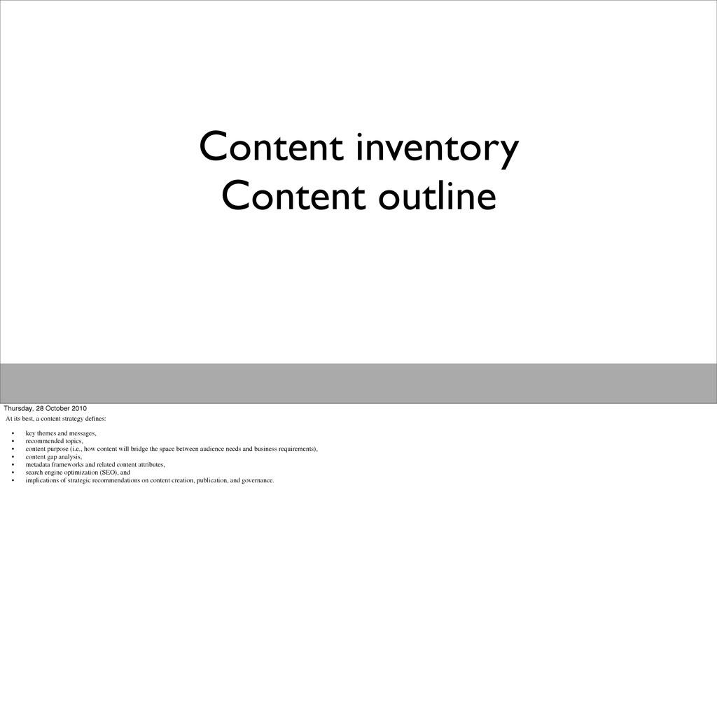 Content inventory Content outline Thursday, 28 ...