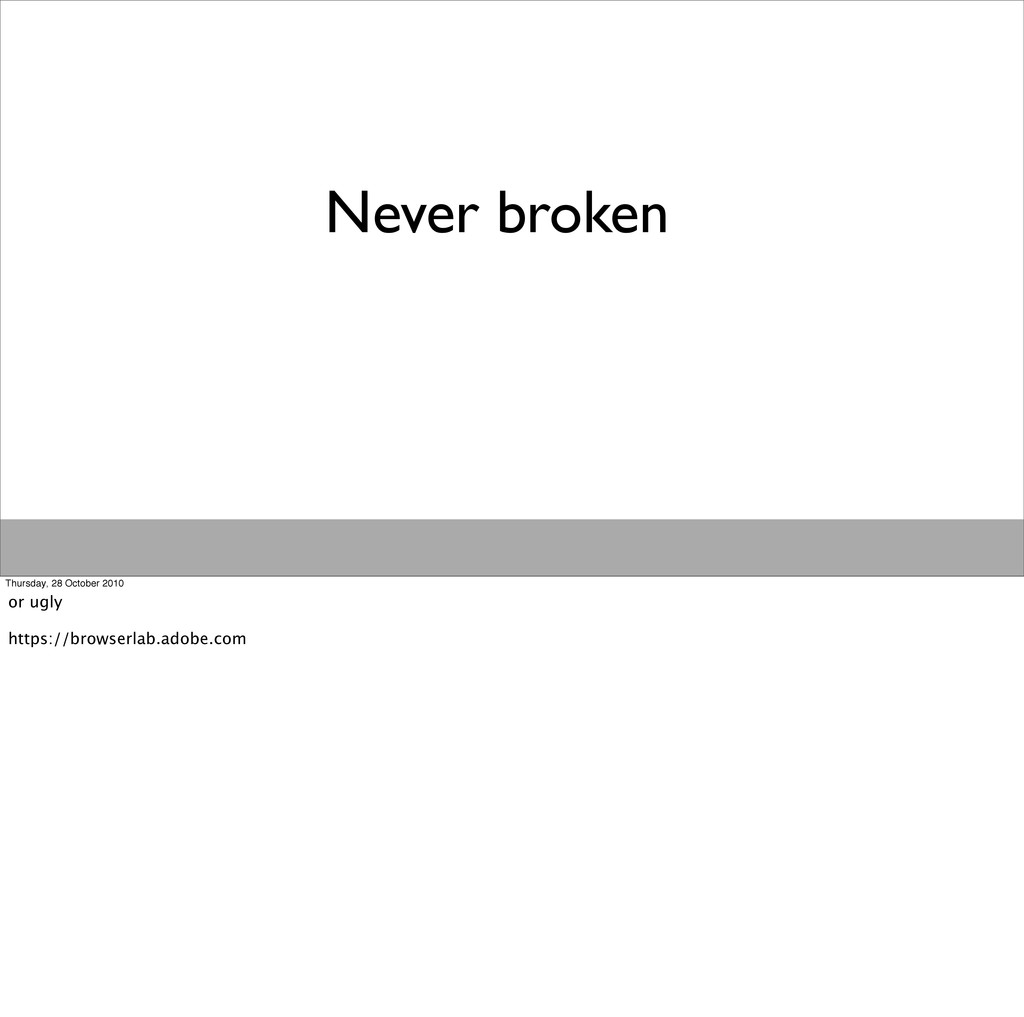 Never broken Thursday, 28 October 2010 or ugly ...