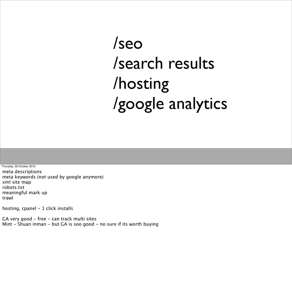/seo /search results /hosting /google analytics...