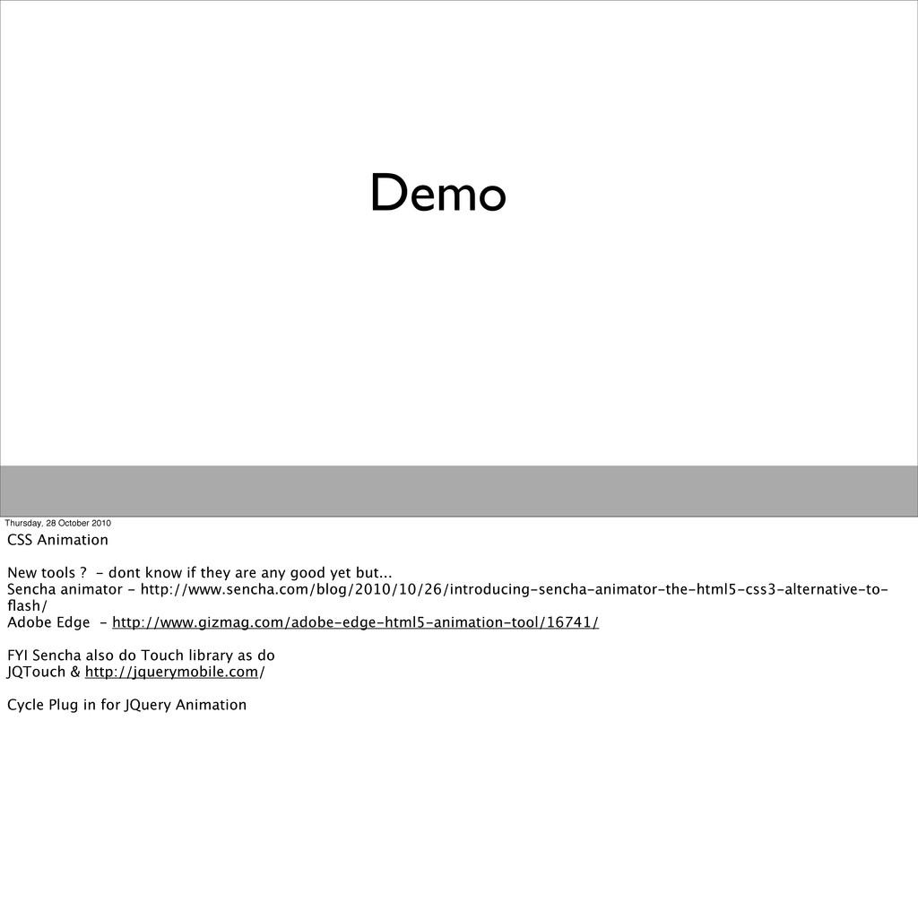 Demo Thursday, 28 October 2010 CSS Animation Ne...
