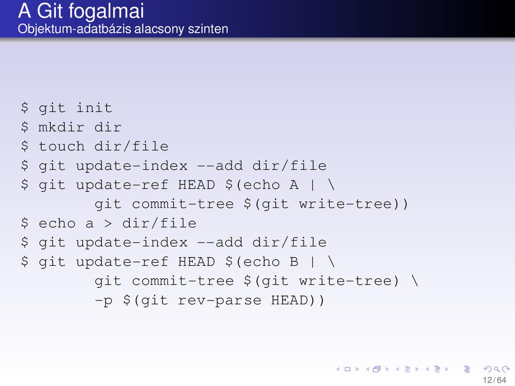 A Git fogalmai Objektum-adatbázis alacsony szin...