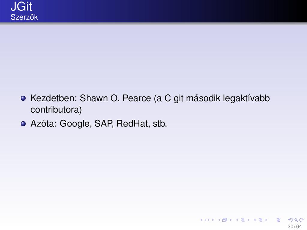 JGit Szerz˝ ok Kezdetben: Shawn O. Pearce (a C ...