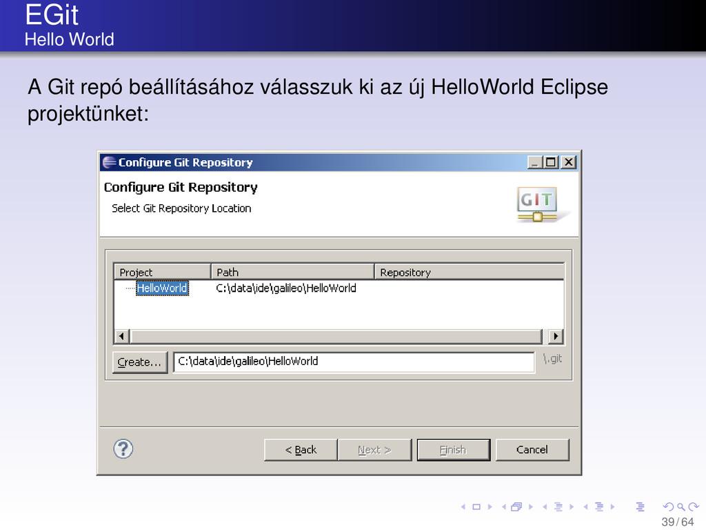 EGit Hello World A Git repó beállításához válas...