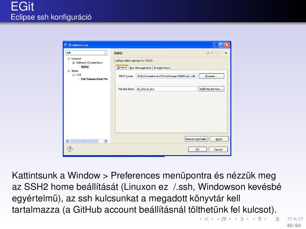 EGit Eclipse ssh konfiguráció Kattintsunk a Wind...
