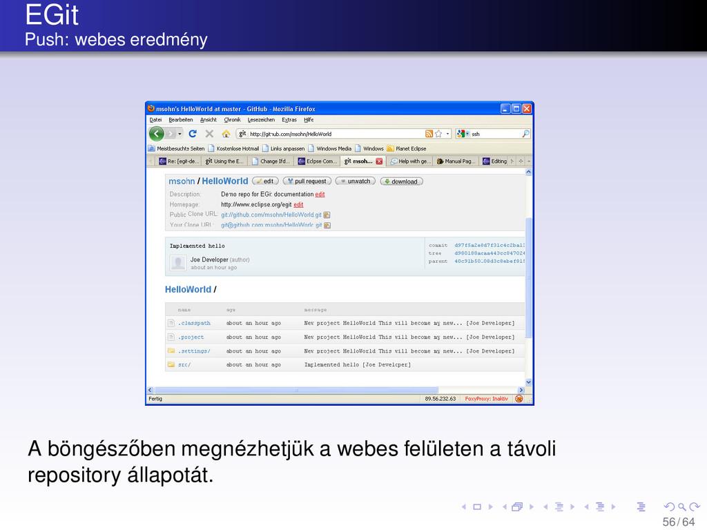 EGit Push: webes eredmény A böngész˝ oben megné...