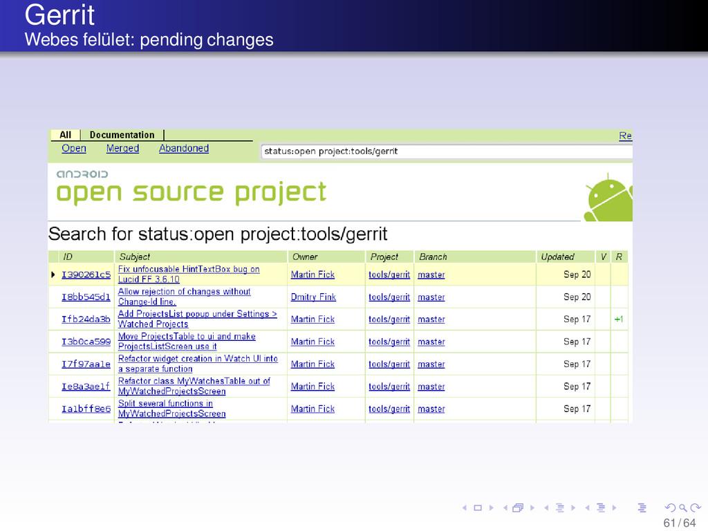 Gerrit Webes felület: pending changes 61/ 64