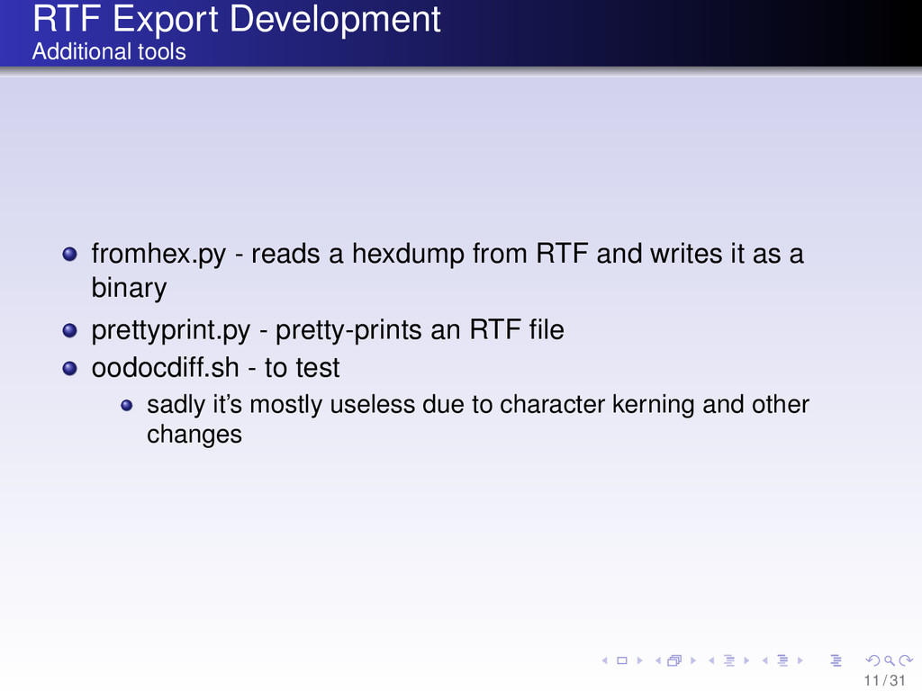 RTF Export Development Additional tools fromhex...