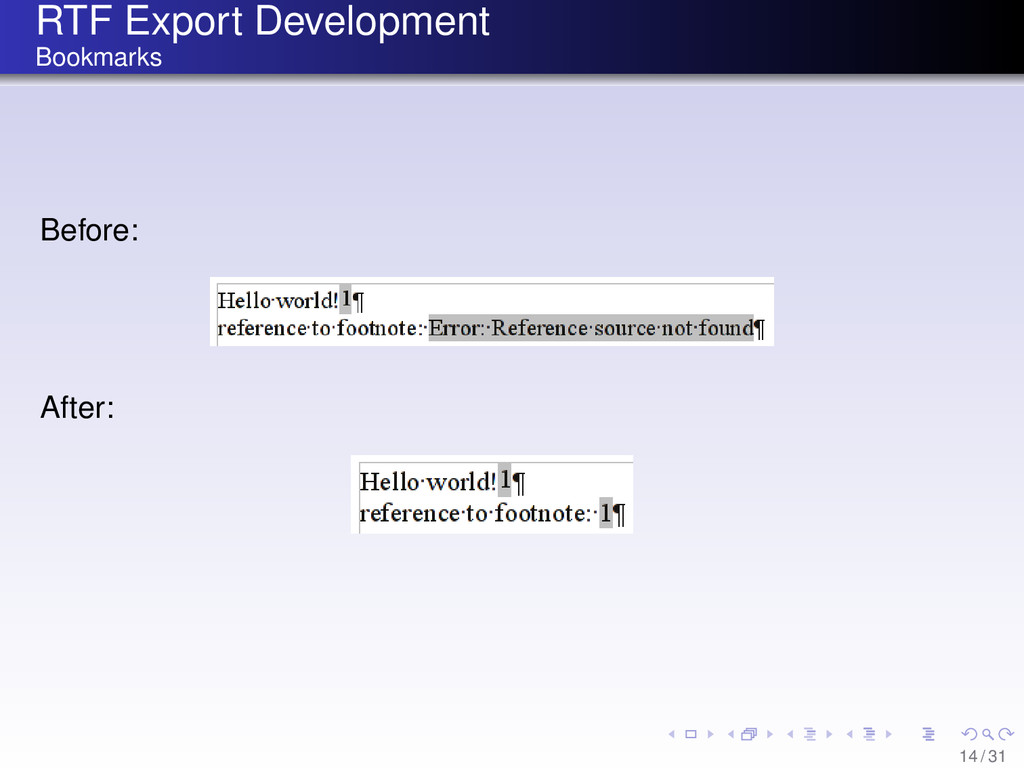 RTF Export Development Bookmarks Before: After:...