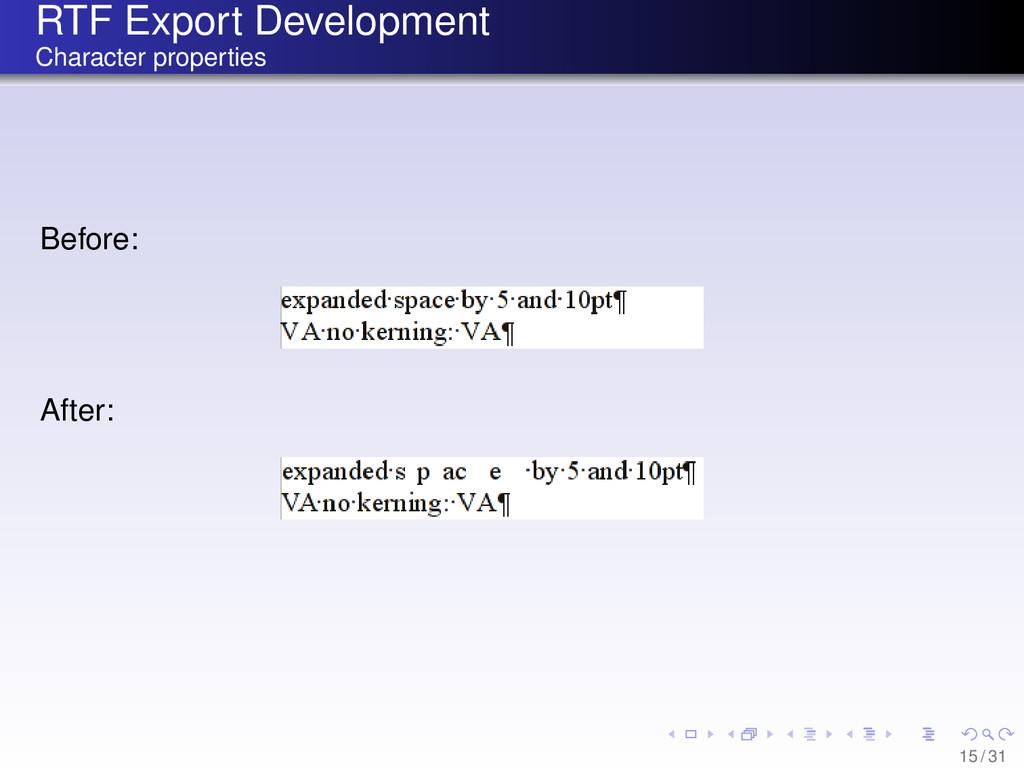 RTF Export Development Character properties Bef...
