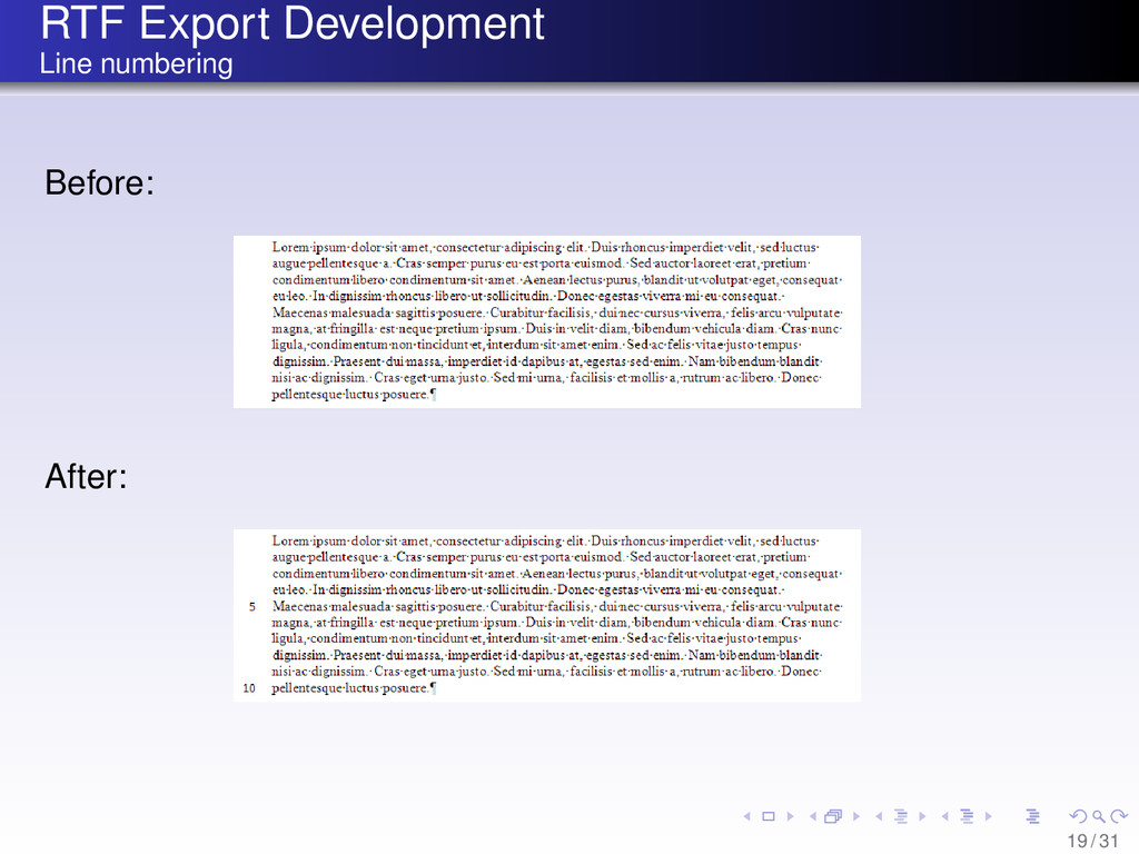 RTF Export Development Line numbering Before: A...