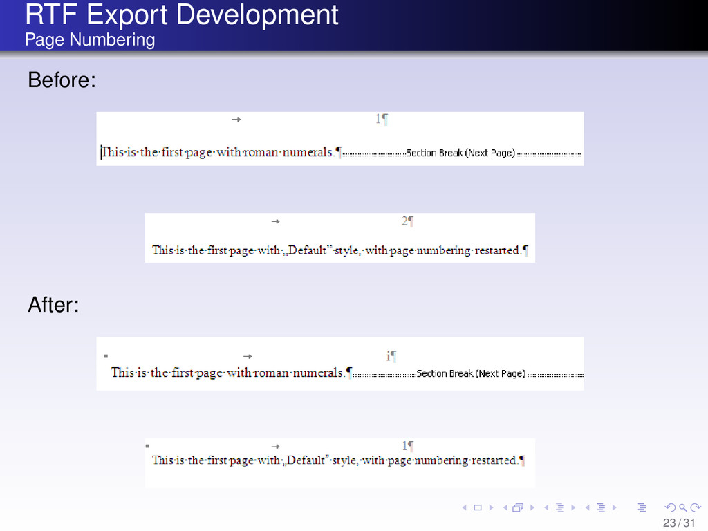 RTF Export Development Page Numbering Before: A...